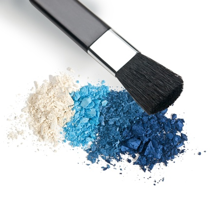 Make-up brush with colorful crushed eyeshadows Stock Photo - 19497054