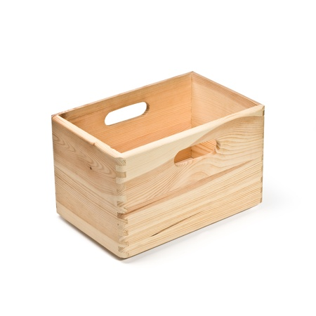 storage box: empty wooden crate isolated on white with clipping path