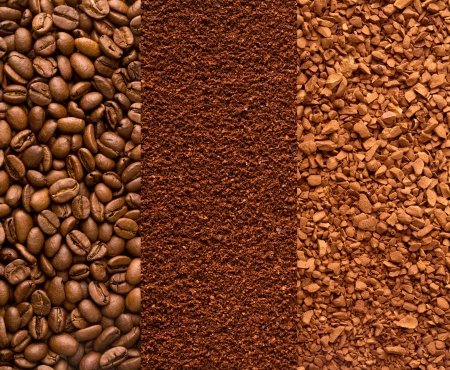 instant coffee: coffee beans, ground coffee and instant coffee background