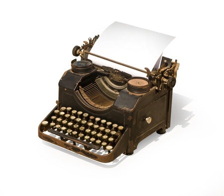 クリッピング パスとの白い背景の上の古いタイプライター 写真素材
