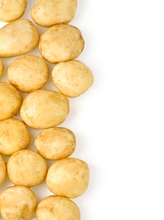raw potato: new potatoes top view, with clipping path and copy space Stock Photo