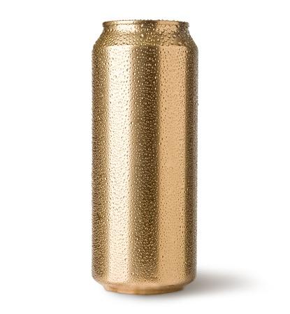 lata de refresco: latas de oro aisladas en blanco