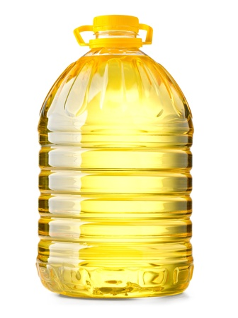 Botella de plástico de aceite grande en el fondo blanco Foto de archivo - 20594978