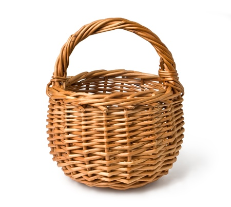 empty basket: Empty wicker basket isolated on white with clipping path