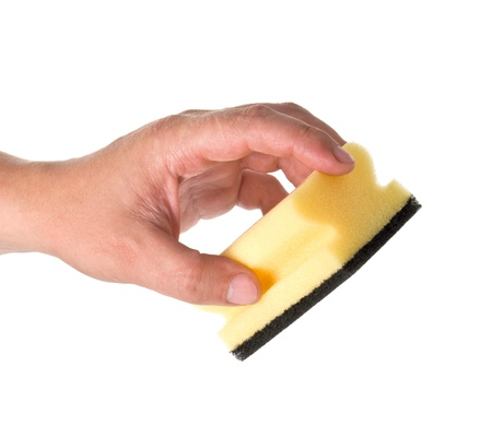 absorb: Household sponge in a hand on a white background