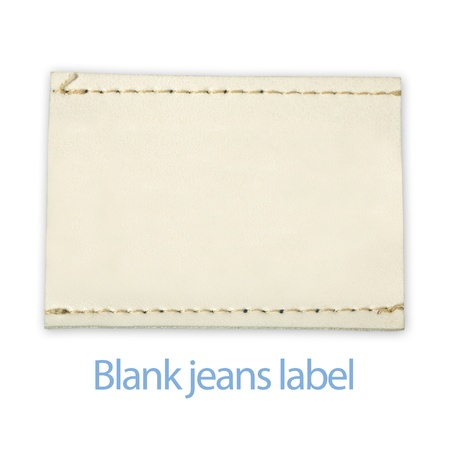 Blank jeans label isolated on white photo