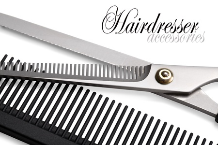 Scissors, Thinning shear on white background photo