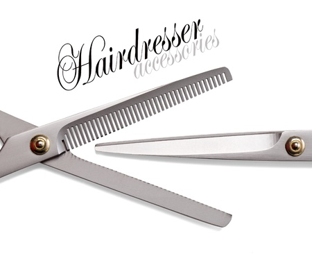 salon background: Scissors, Thinning shear on white background