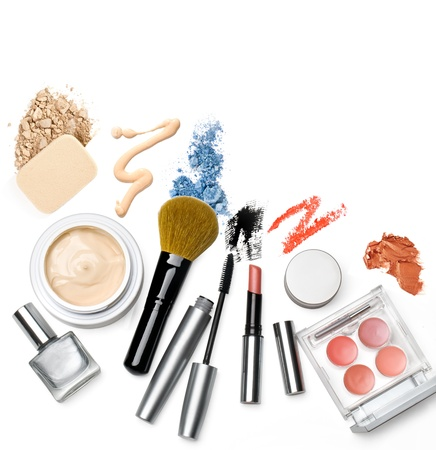 makeup brush and cosmetics, on a white background isolated,