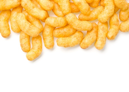 pile up of cheese curl snack  photo