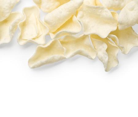 grasas saturadas: Patatas fritas blancos aislados en blanco. Foto de archivo