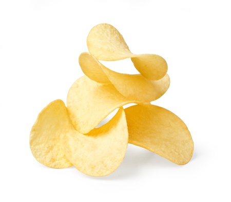 potatoe: The image of the potato chips isolated on white.