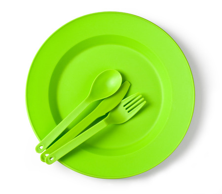 disposable tableware green close-up%u044E Stock Photo