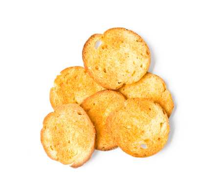 alimentary: fried round rusks, isolated on a white background   Stock Photo