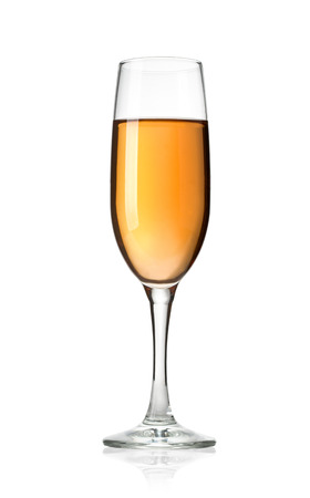 muscadet: Glass of dessert wine on a white background and with soft shadow