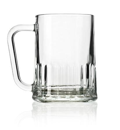 Empty beer mug isolated on white background photo