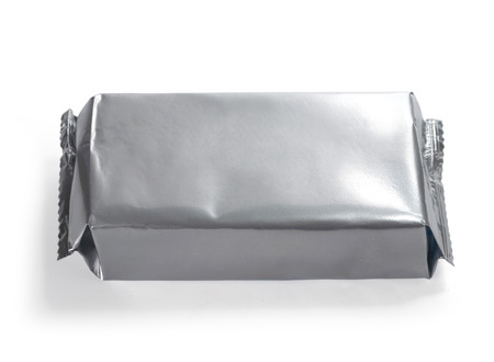 sachets: blank silver food packaging on white background