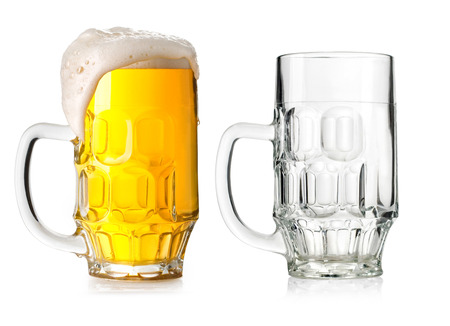 Two Mugs beer with cap of foam and Empty isolated on white background Stock Photo - 23284390