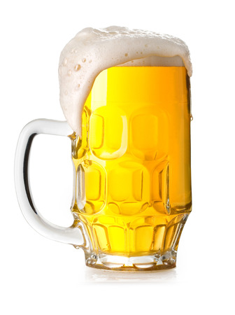 Mug fresh beer with cap of foam isolated on white background Stock Photo - 23284583