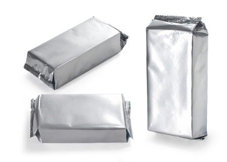 sachets: blank silver product packaging on white background