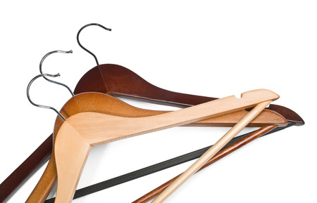 house coats: Hangers isolated on the white background with clipping path Stock Photo