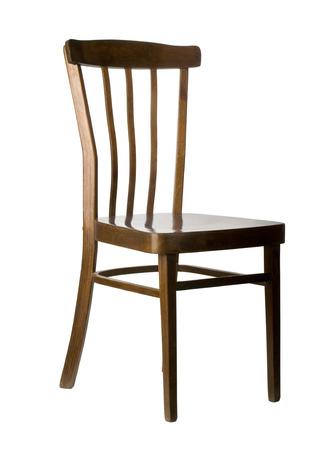muebles de madera: silla de madera aislada en blanco con el camino clippin