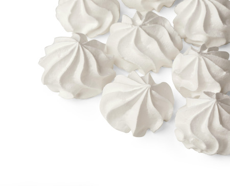 meringue cookies on white background with copy space With clipping path