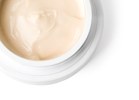 close up of sour cream or beauty cream on white   Clipping path  photo