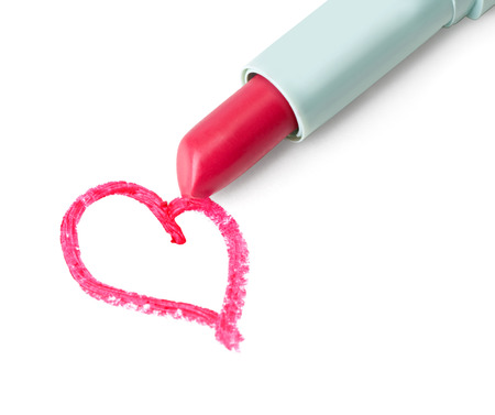 Picture of isolated lipstick with red heart Stock Photo - 24532792