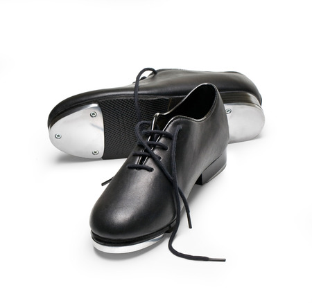tap dance: tap shoes on a white Stock Photo