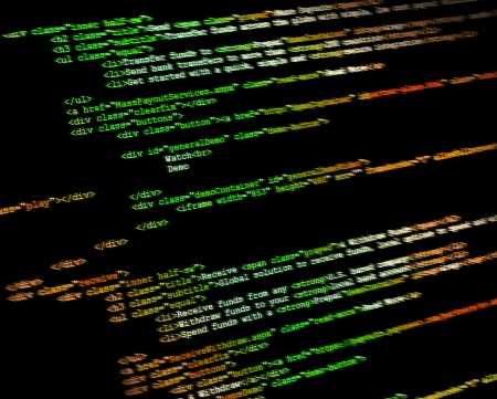 php: Program code on a monitor background Stock Photo