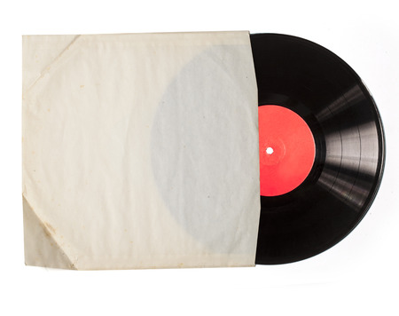 Old vinyl record in a paper case photo