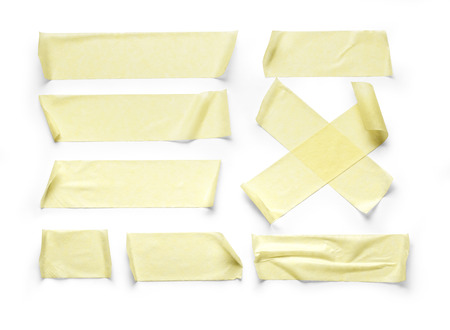 tear duct: collection of various adhesive tape pieces on white background with clipping path