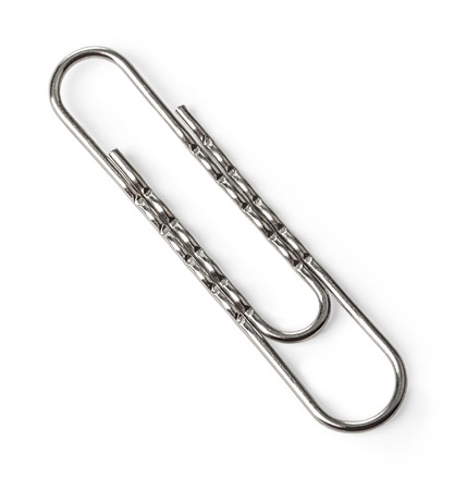 clinch: Paper clip on a white background with clipping path Stock Photo