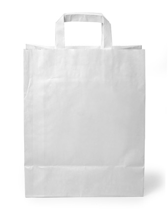 recycle bag: close up of a white paper bag on white background with clipping path