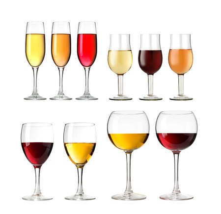 muscadet: Set of  Wineglass with white and red  wine on wite background