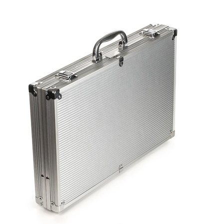 metallic suitcase on white background  with clipping path photo