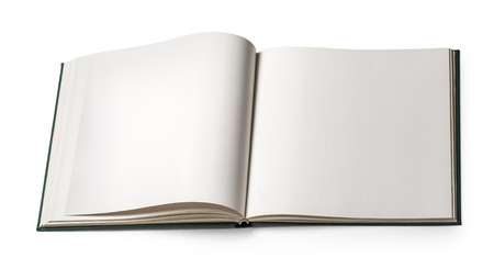 Book with blank page isolated on white  Stock Photo - 25640325