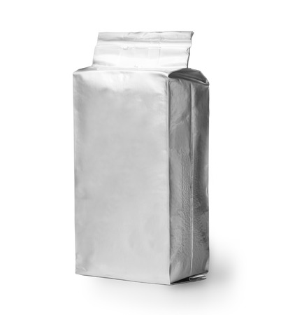 blank silver product packaging isolated  on white photo