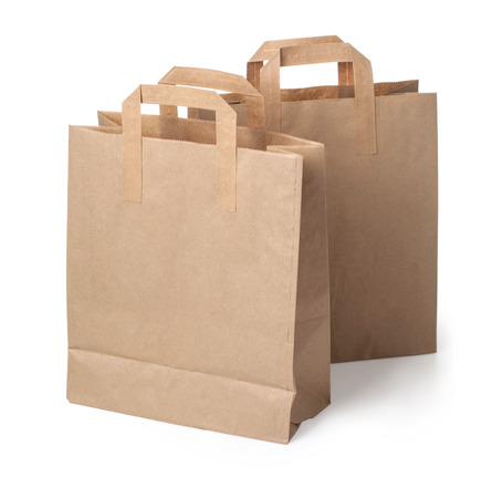 brown paper bags: Two paper shopping bag on white