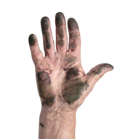 man with dirty hands with clipping  path photo