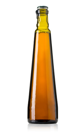 oil bottle: Close up of a olive oil bottle isolated on white Stock Photo
