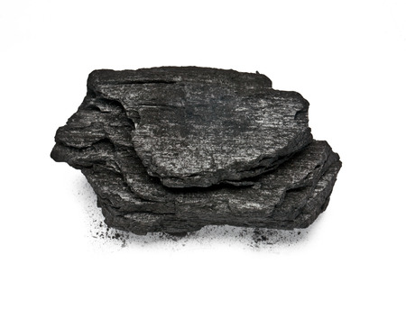 Piece of fractured wood coal isolated over white  photo