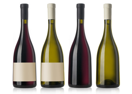 semisweet: two red and white wine bottles with blank labels, render  Stock Photo