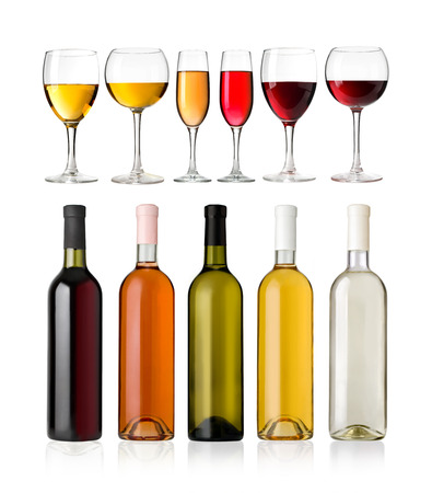 aligote: Set of white, rose, and red wine bottles and glas  isolated on white background