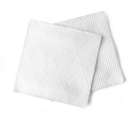 serviette: Blanco papier servet op een witte achtergrond