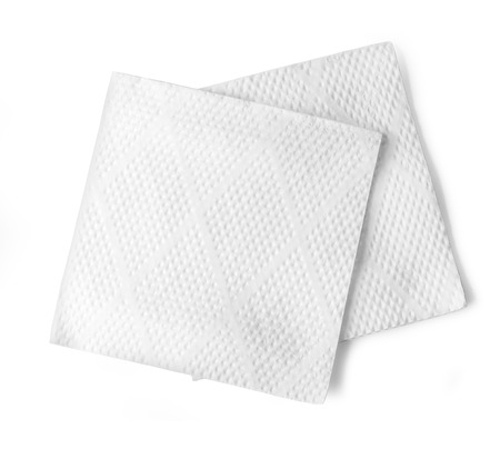Blank paper napkin isolated on white background  Stock Photo