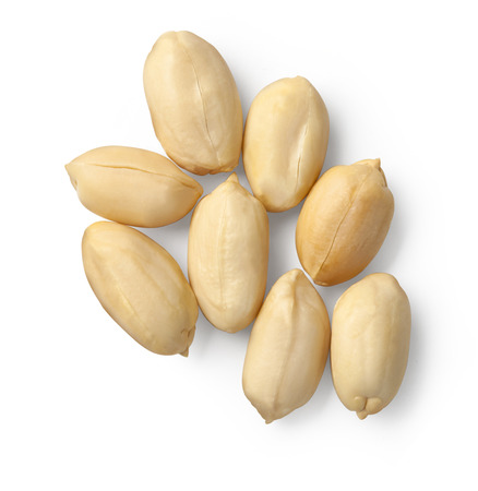 Processed peanuts isolated on white background  版權商用圖片