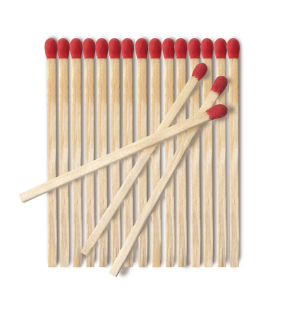 consumable: Close-up of a red match isolated on a white background Stock Photo