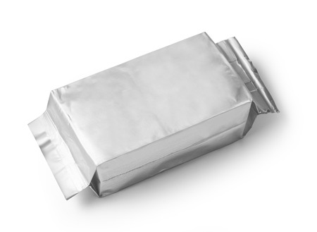 candy bar: silver blank package on white background including clipping path Stock Photo